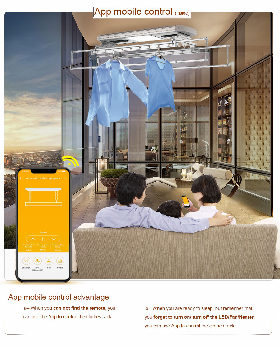 electric ceiling clothes drying rack with app control